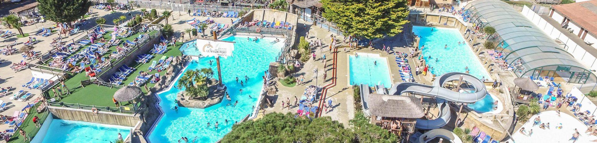 Gezinscamping Le Vieux Port in Messanges is een grote familiecamping aan zee op een levendig vakantiepark in Landes.