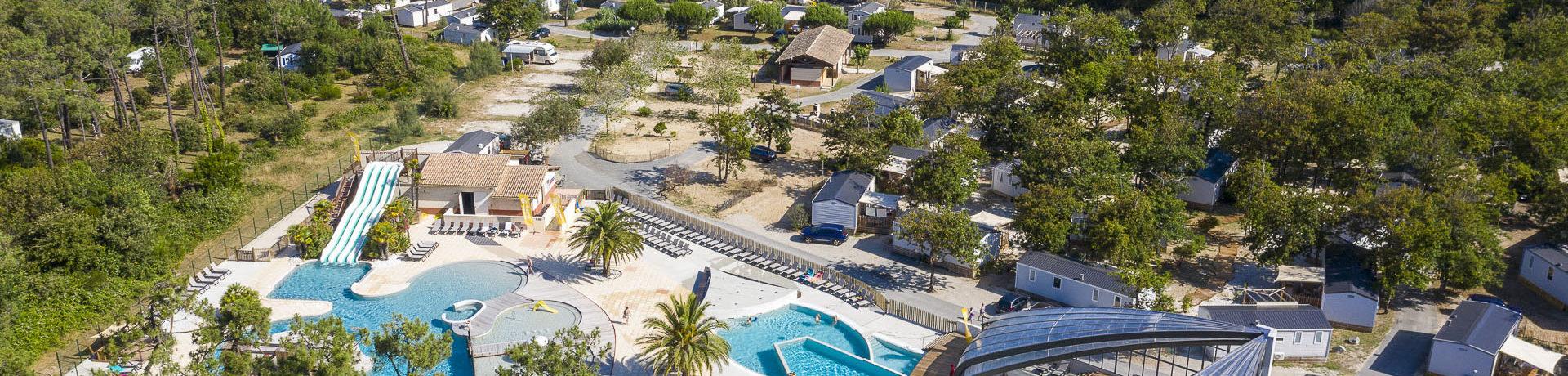 Sandaya Soulac Plage in Soulac-sur-Mer is een 4-sterrencamping met aquapark aan het strand van de kust van de Aquitaine, ten zuiden van het estuarium van de Gironde.