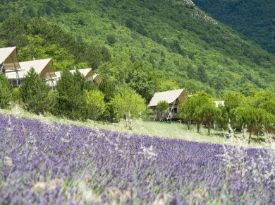 Camping Huttopia Dieulefit in Dieulefit is een gezellige provençaalse camping in een groene omgeving in de Drôme in de Rhône-Alpes.