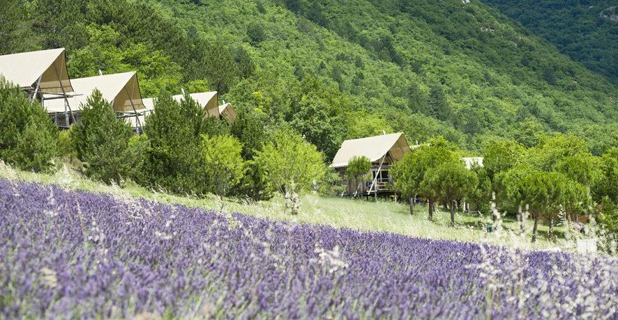 Village Huttopia Dieulefit in Dieulefit is een natuurcamping in de Auvergne-Rhône-Alpes gelegen aan een meer midden in de Drôme.